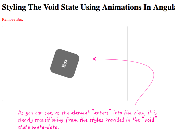 Styling the void state in the animations meta-data in Angular 2 RC 6.