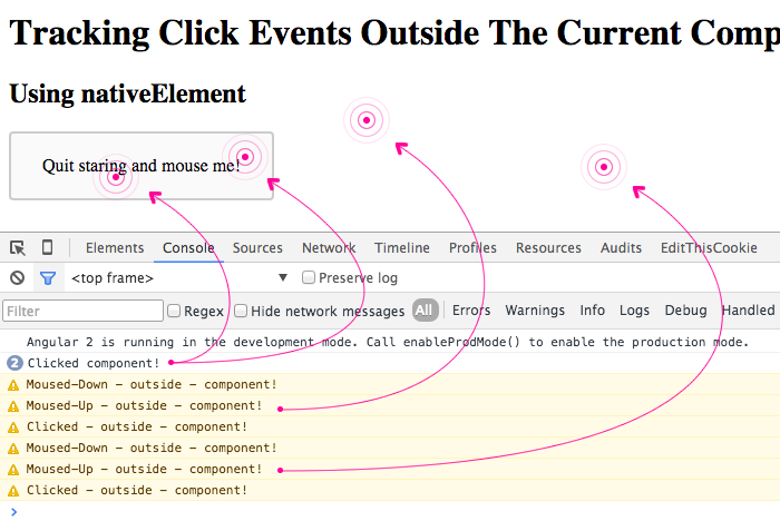 Tracking click events outside the current component in Angular 2.
