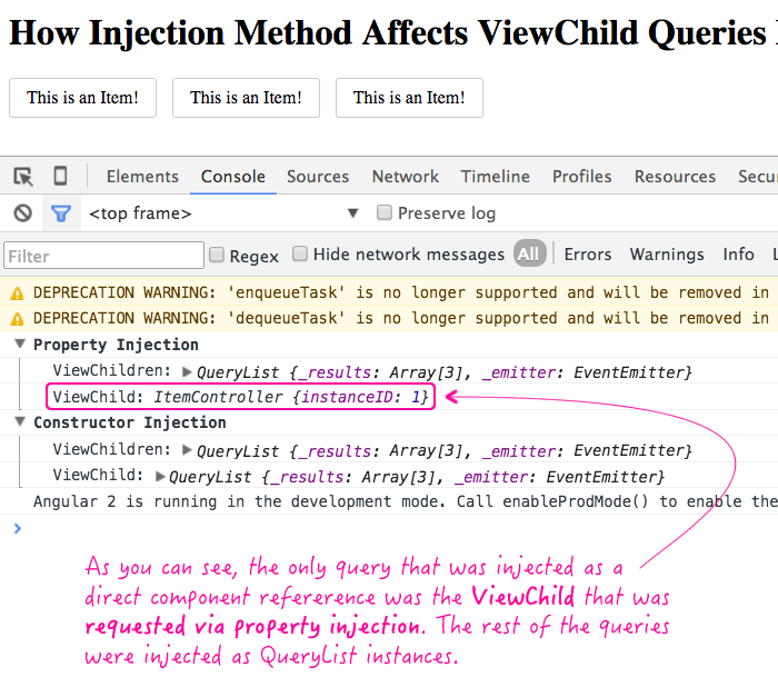 ViewChild resolution is affected by injection method in Angular 2 Beta 8.