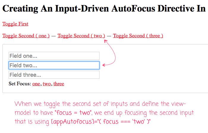 Augmenting the autofocus behavior of the browser using attribute directives an Angular 5.0.2.