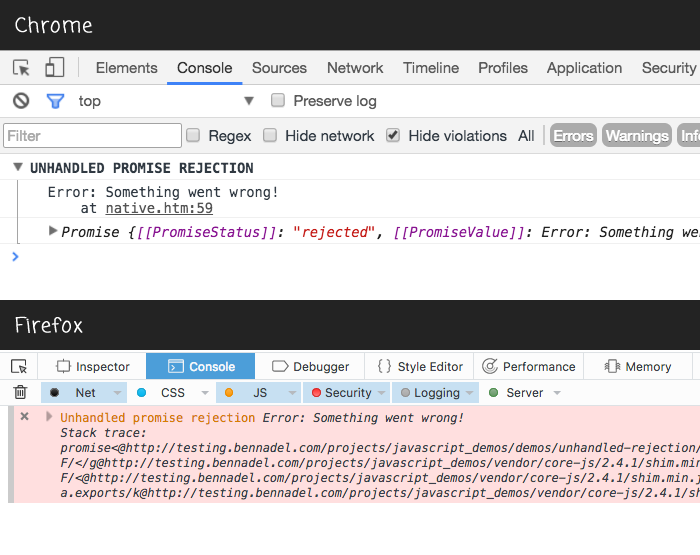 Monitoring and logging unhandled promise rejections in the browser.