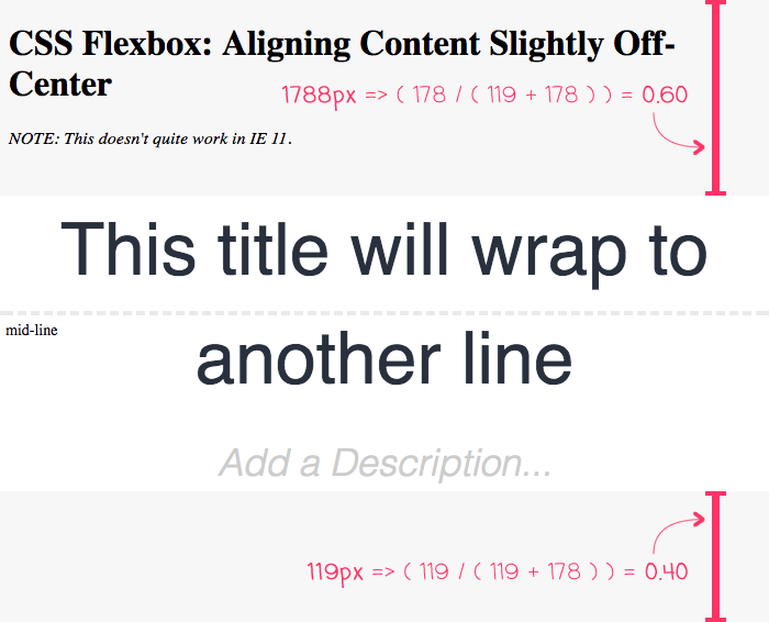 Using CSS flexbox to keep dynamic content vertically off-center.
