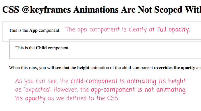 CSS @keyframes animations are not scoped to a component with emulated view encapsulation in Angular 4.4.6.