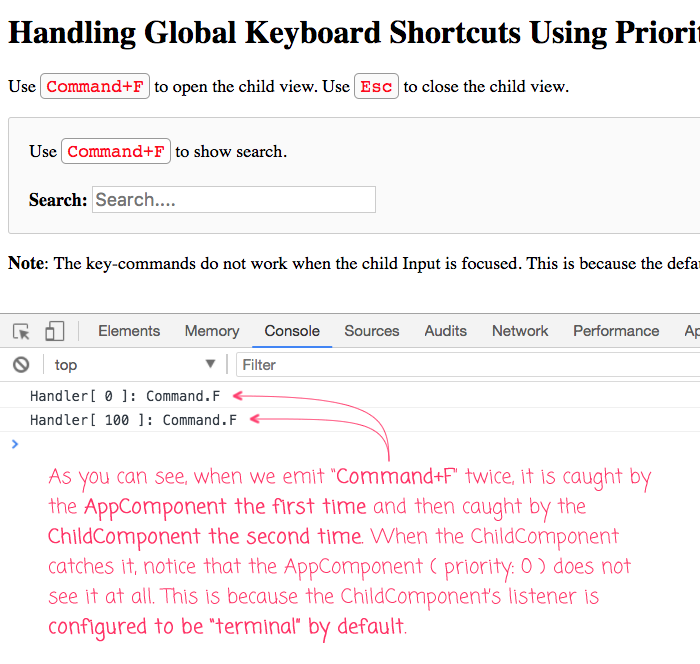Handling Global Keyboard Shortcuts Using Priority And