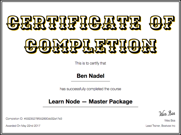 Learn Node video course certificate of completion from Wes Bos.
