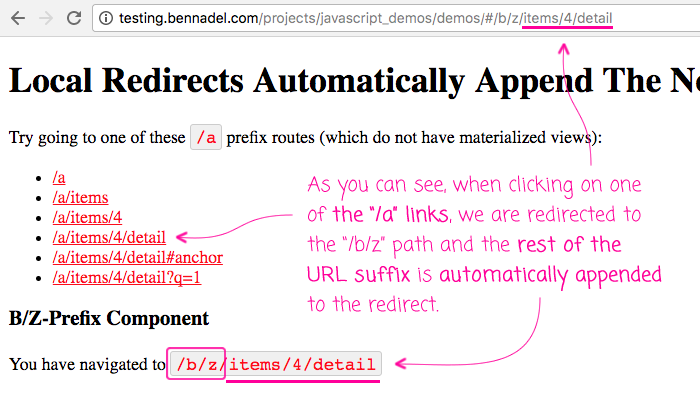 Local Redirects Automatically Append The Non-Local Route