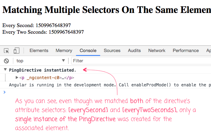 Multiple selector matches on a single element leads to only a single Directive instance.