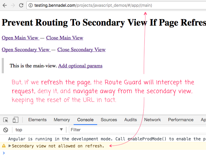Prevent Routing To Secondary View If Page Refresh In Angular