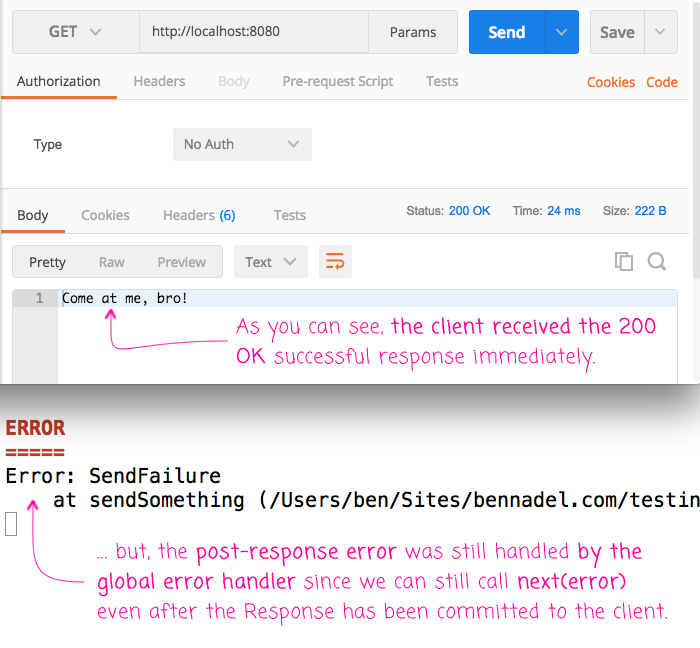 You can process Express.js request after the response has been committed to the client.