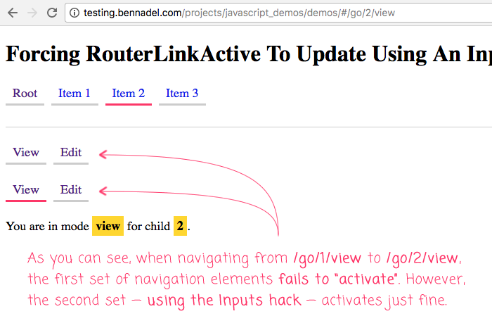 Forcing RouterLinkActive To Update Using An Inputs Hack In