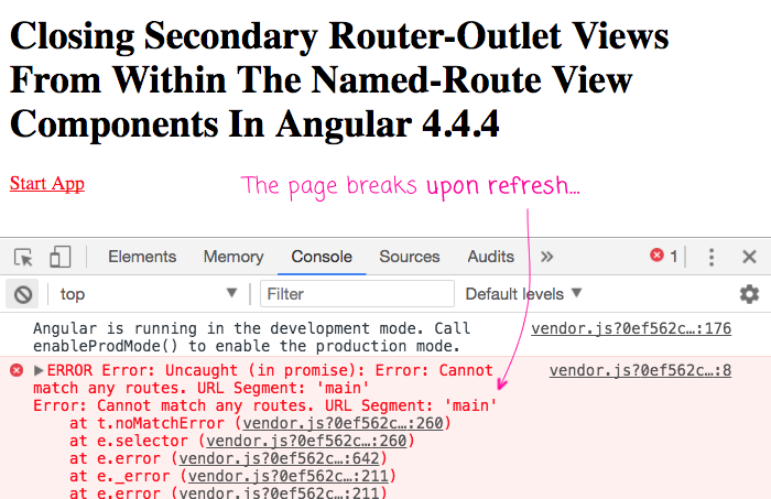 Self-closing secondary routes may break in a way that is not obvious until refreshing the page.