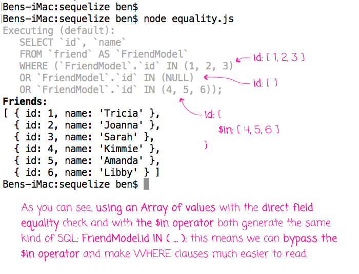 Using arrays with direct field comparison in Sequelize ORM in Node.js.