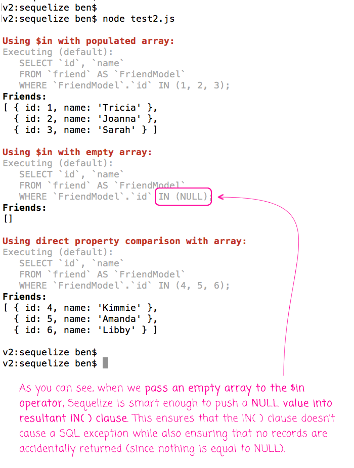 It's Safe To Use Empty Arrays With The $in Operator In Sequelize