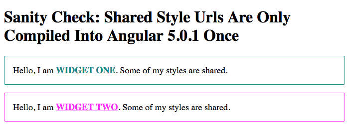 Sharing style URLs in Angular components.