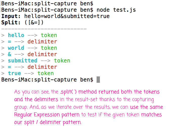 Returning the delimiters in the String split() method in JavaScript.