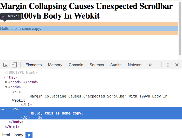Margin Collapsing Causes Unexpected Scrollbar With 100vh Body In Webkit