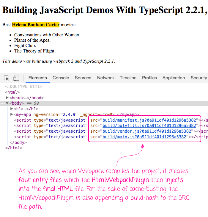 Building Angular 2 demos with Webpack 2 and TypeScript.