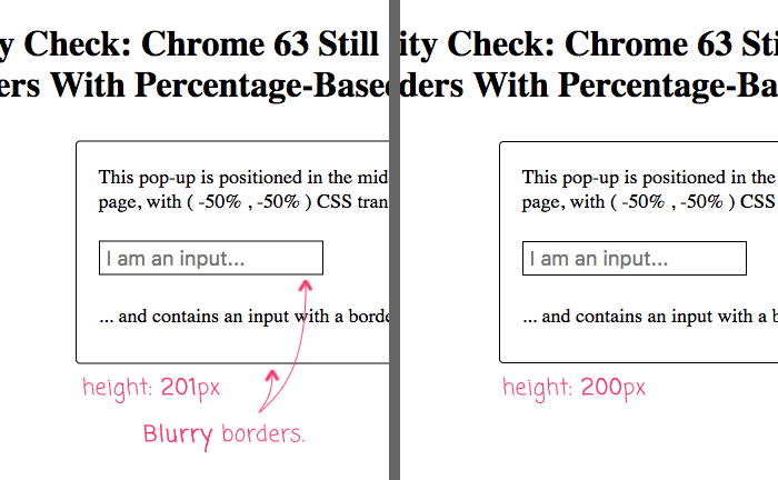 CSS transform with percentage-based translation can cause blurry borders in Chrome browser.
