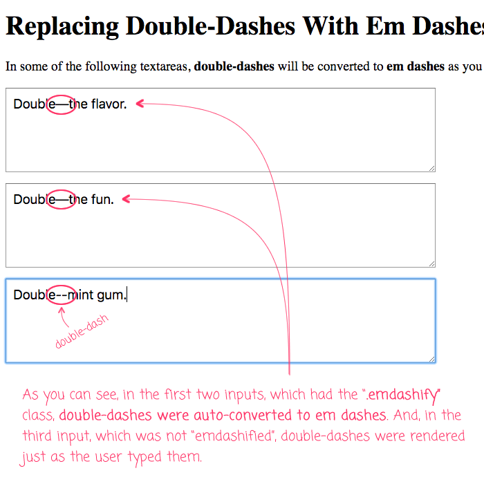 Replacing Double-Dashes With Em Dashes While Typing In