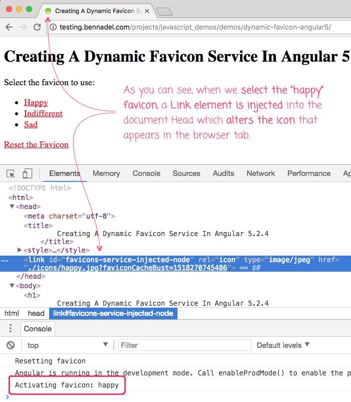 Dynamic favicons in an Angular 5.2.4 application.