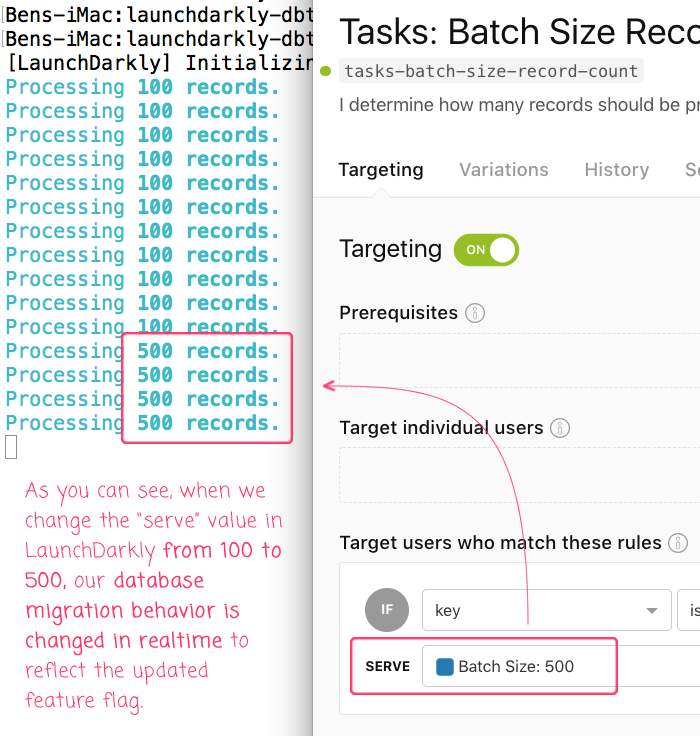 Using LaunchDarkly to alter the runtime behavior of batch operations like database migrations.