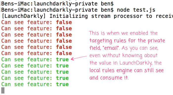 LaunchDarkly rules engine synchronization in the background.