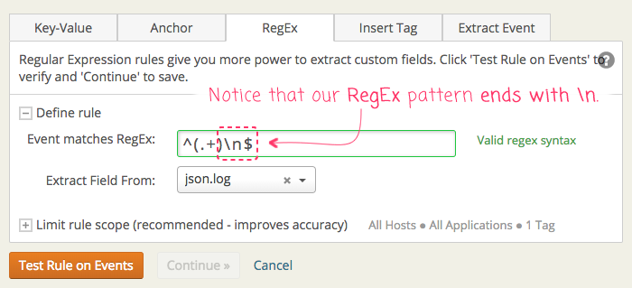 Loggly Derived Field RegEx Matching May Require A Newline In