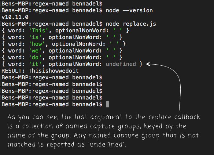 Playing With RegExp Named Capture Groups In Node 10