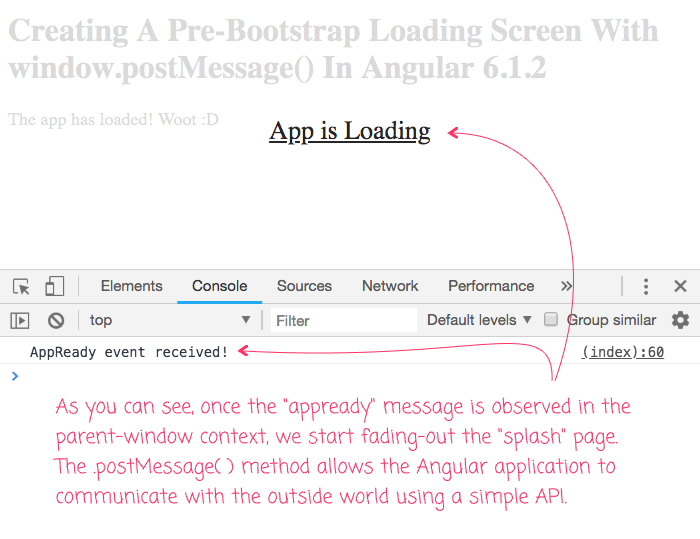 Creating A Pre-Bootstrap Loading Screen With window postMessage() In