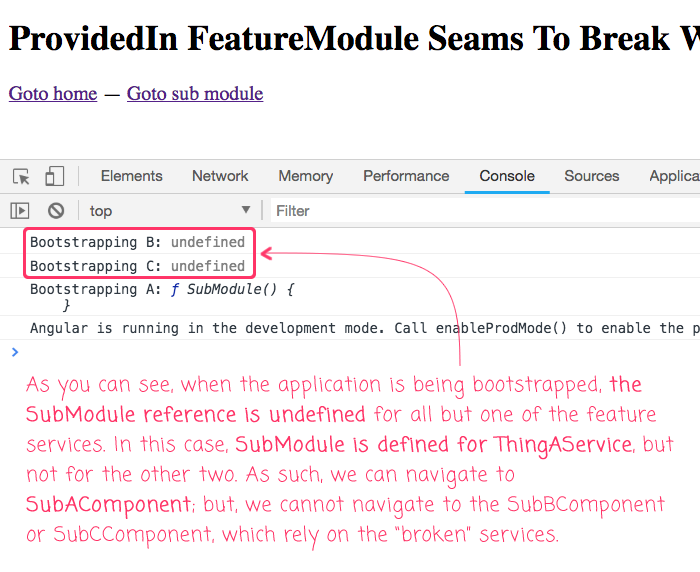 providedIn feature module results in undefined module references in Angular 6.1.9.