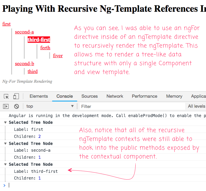 We can use ng-template and ng-for to recrusively render a view partial in Angular 6.1.10.