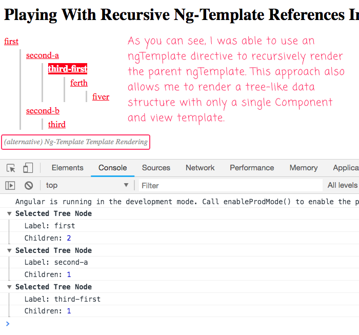 We Can Use Ng Template To Recrusively Render An View Partial In