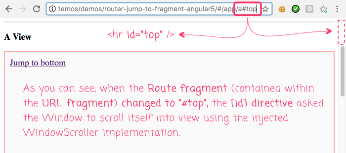 Creating a jump-to-fragment polyfill for the Angular 5 router.