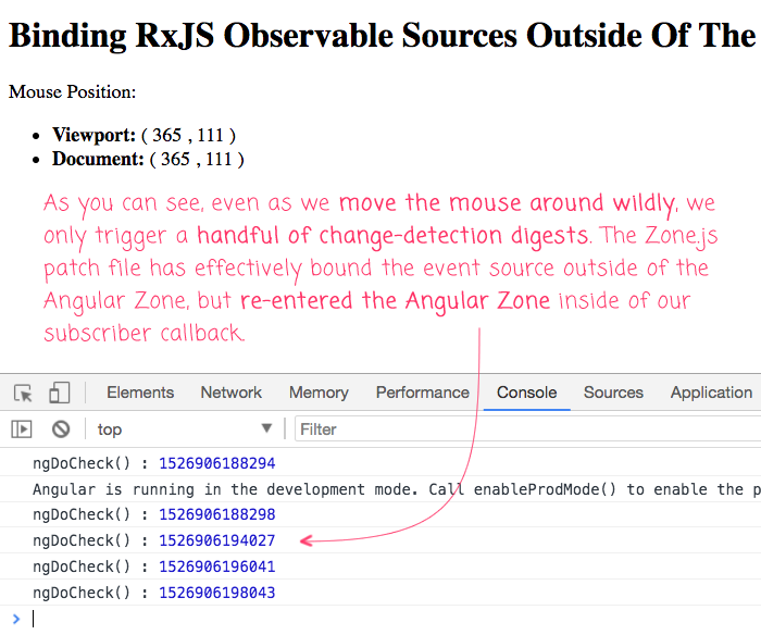Zone.js patch for RxJS allows RxJS to run outside of the Angular Zone.