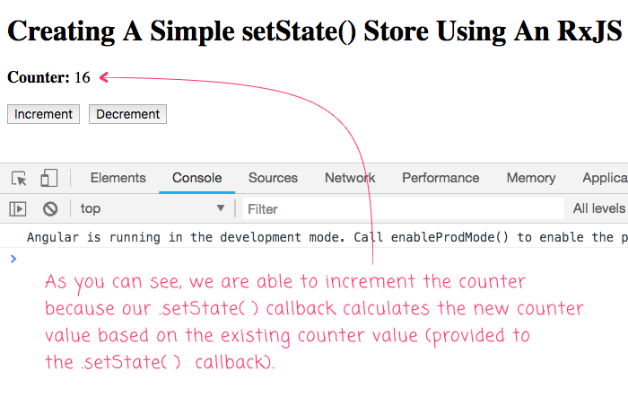 Providing a callback to the .setState() function of a React-inspired simple store in Angular 6.1.10.