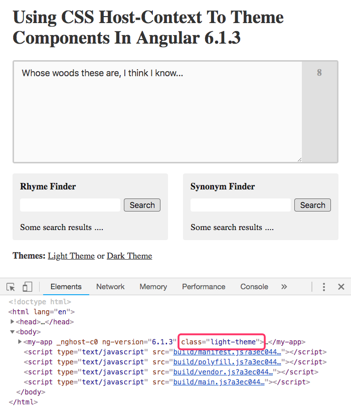 Using CSS Host-Context To Theme Components In Angular 6 1 3