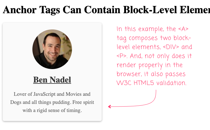 Anchor Tags Can Contain Block-Level Elements As Of HTML5