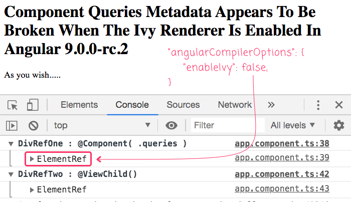 Component queries metadata is succeeds to inject element reference if Ivy is disabled in Angular 9.0.0-rc.2.