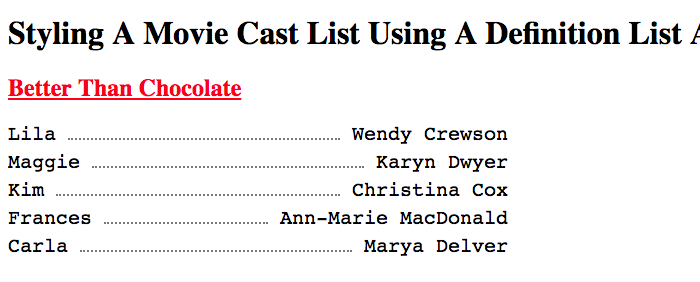 Movie cast list rendered with DL, DT, and DD tags, styled using Flexbox.