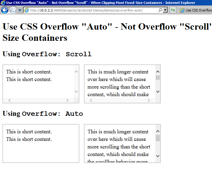 CSS overflow: scroll always shows scrollbars in IE11.