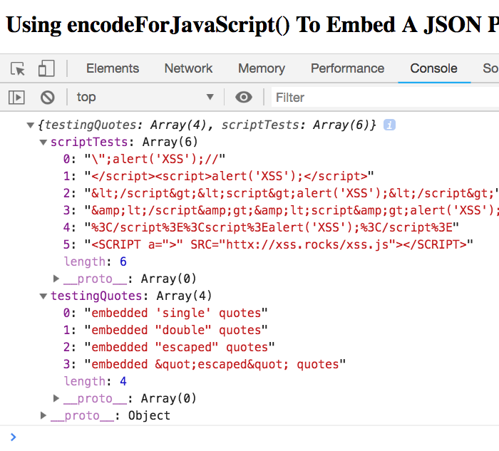 Using encodeForJavaScript() To Embed A JSON Payload As