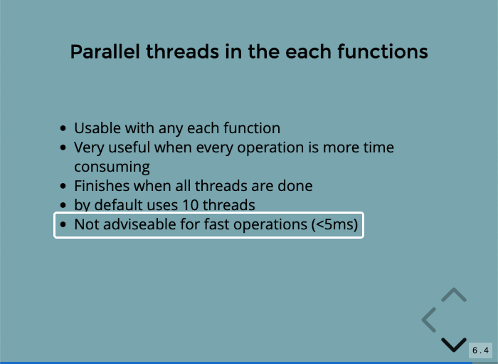 Lucee Undocumented presentation showing parallel iteration should be used on tasks that take more than 5ms.