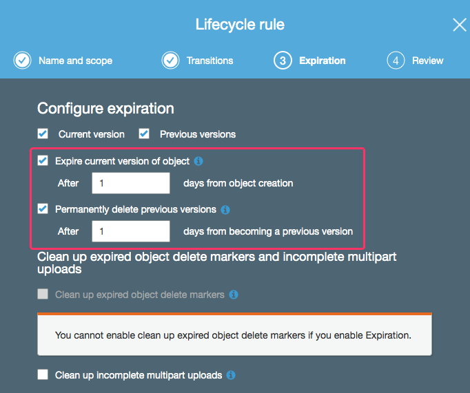 Using life-cycle management to expire S3 objects after 1-day.