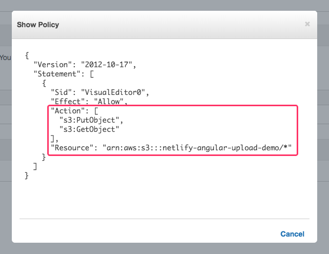 Amazon IAM policy for GET and PUT operations on S3.