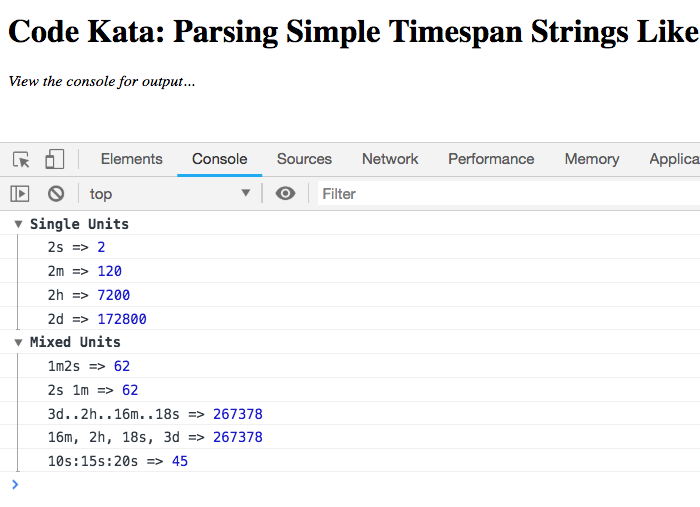 QnA VBage Code Kata: Parsing Simple Timespan Strings Like 3h:12m:57s Using JavaScript