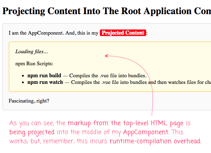 Projecting Content Into The Root Application Component Using