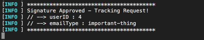 The tracking pixel contains the request signature.