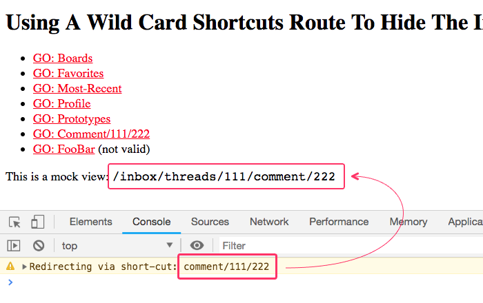 Redirecting from a wild card shortcut URL to an internal application route in Angular 7.2.5.